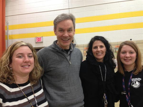 The first grade teachers with author John Coy!